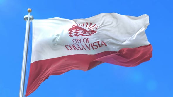 Flag of Chula Vista City in California in United States of