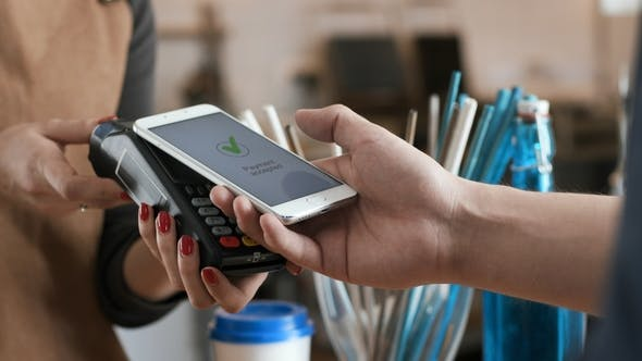 Contactless Nfc Payment By Mobile Cell Phone with Digital Credit
