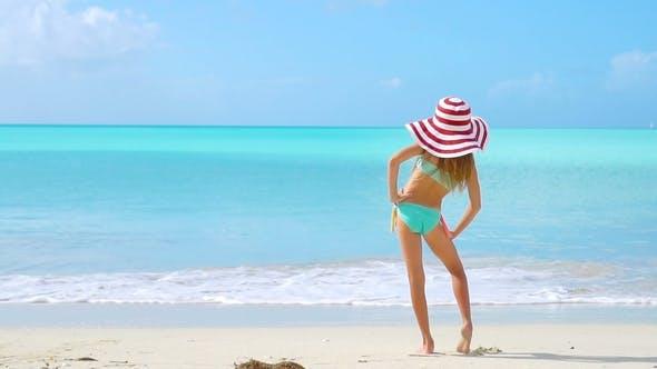Beautiful Little Girl at Beach Having Fun  Funny Girl Enjoy