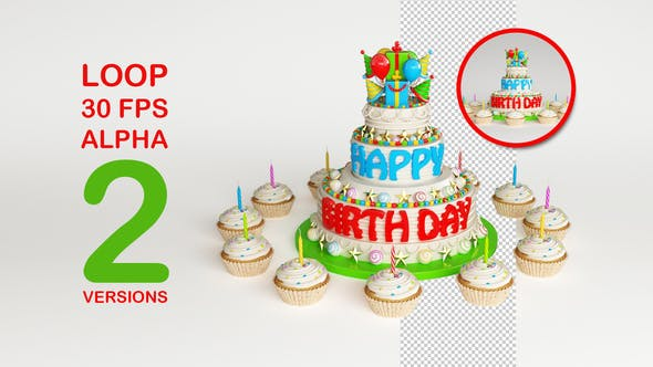 3 Floor Birthday Cake and Cupcakes by BirthdayHive   VideoHive