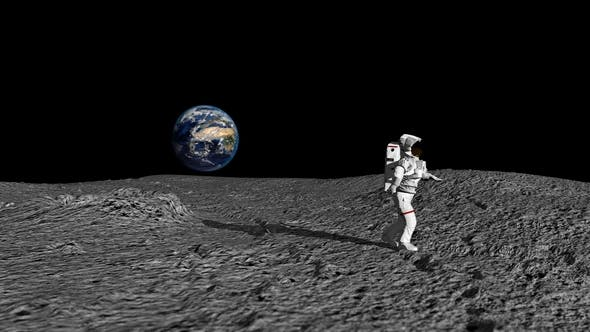Astronaut Doing The Moonwalk And Dancing On The Moon by Merlinus74