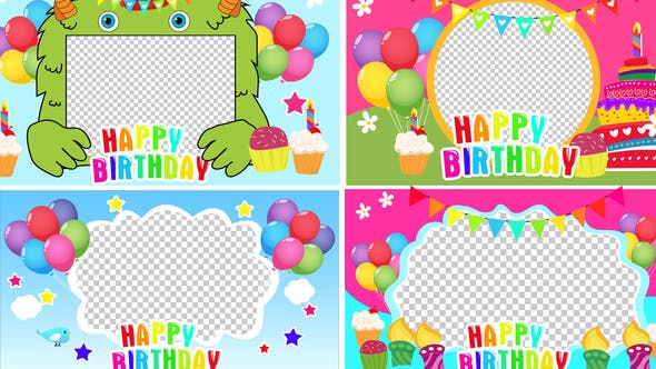 Birthday Frame Cake and Candle Cartoon Pack 5 by edmotion | VideoHive