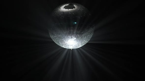 Party Lights Disco Ball On Black Background Stock Footage