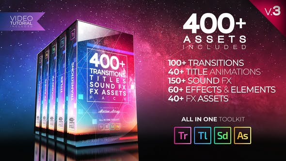 Video Assets Pack: Transitions, Titles, Sound FX by