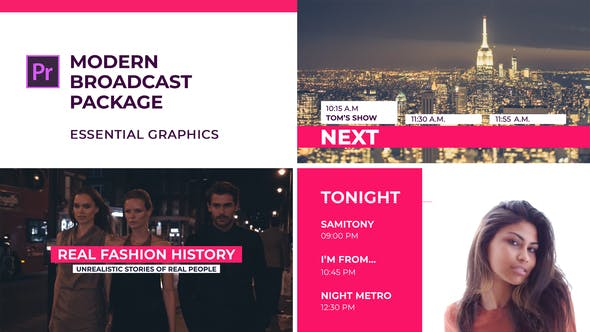 Modern Broadcast Package | Essential Graphics | Mogrt - VideoHive product image