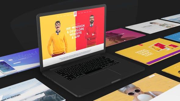 VIDEOHIVE WEBSITE PROMO ON MACBOOK DEVICE – ANIMATED MOCKUP