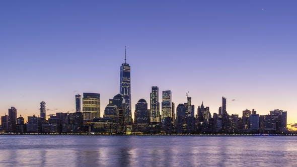 Cityscape of Lower Manhattan, New York at Sunrise. United States of America