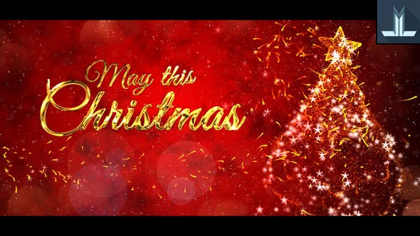 Christmas Wishes After Effect Video Animation Template - Red Background with Gold Text