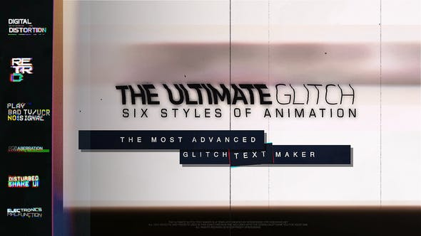 70 Glitch Title Animation Presets Pack | Glitch Text Maker by xFxDesigns