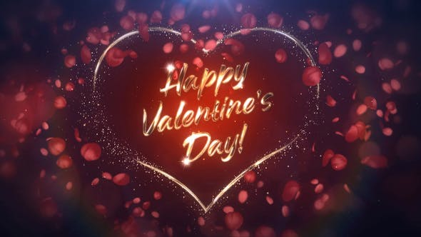 Romantic Valentine's Day Message With Rose Petals Animation