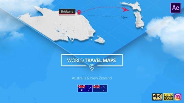 World Map New Zealand And Australia.World Travel Maps Australia And New Zealand By South11 Videohive