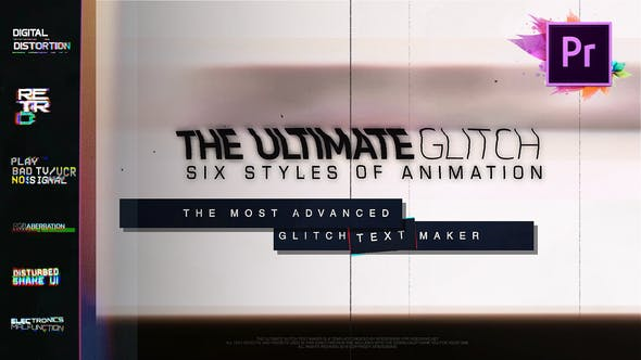 70 Glitch Title Animation Presets Pack For Premiere Pro