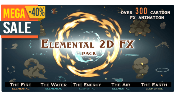 Elemental 2D FX pack [300 elements] by RTFX | VideoHive