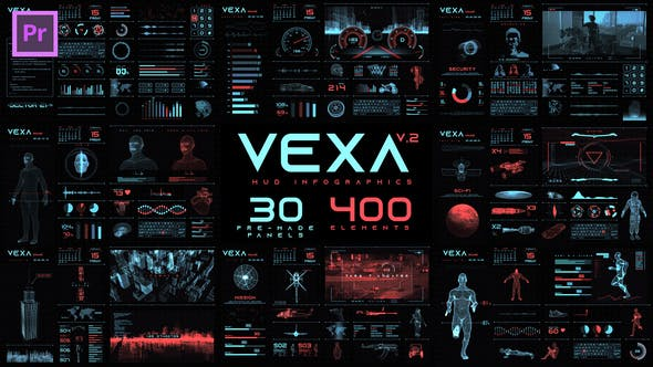 Vexa HUD Infographics Essential Graphics | Mogrt - VideoHive product image