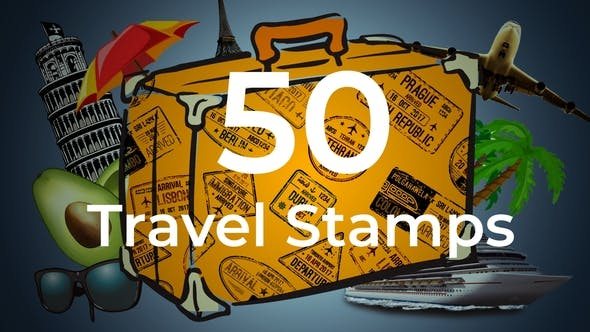 Videohive 50 Travel Stamps Free Download