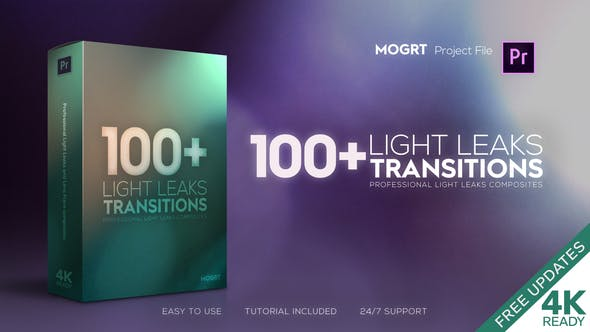 4K Light Leaks Transitions | For Premiere Pro by AleFx