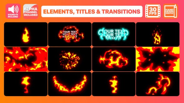 Fire Elements Titles And Transitions | After Effects by