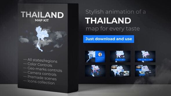 Videohive Thailand Animated Map – Kingdom of Thailand Map Kit Free Download