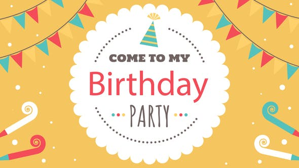 Animated Kids Birthday Invitation by colorcocktail | VideoHive