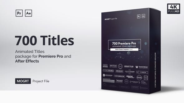 Mogrt Titles - 300 Animated Titles for Premiere Pro & After