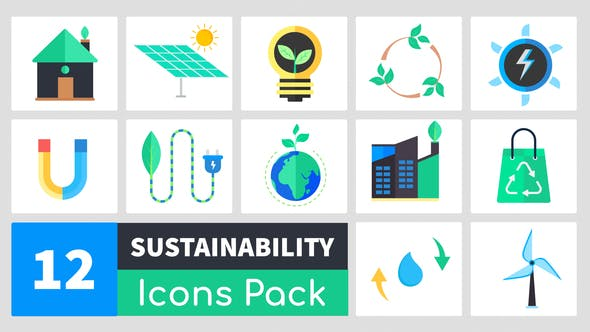Videohive Animated Sustainability Icons Pack Free Download