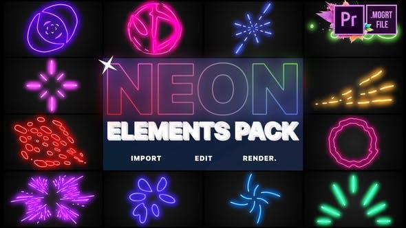 Neon Elements | Premiere Pro MOGRT by MisterFlashAnimation