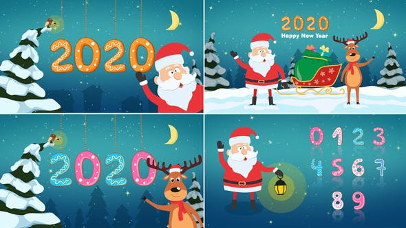 Fun Santa and Deer Christmas 2020 Video Animation
