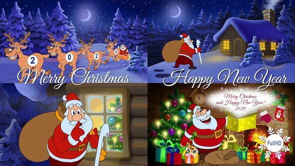 merry christmas and happy new year animated card by cartoontower videohive usd