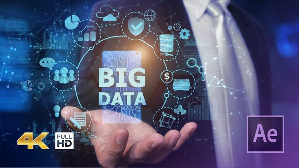 Videohive Businessman Open Hand Big Data Free Download