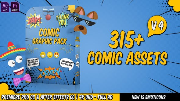 Videohive Comic Titles – Speech Bubbles – Emoji – Stickers – Flash FX Graphic Pack Free Download