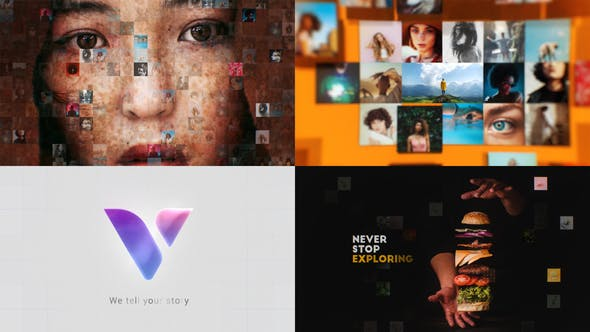 Videohive Mosaic Photos & Videos Logo Reveal Free Download