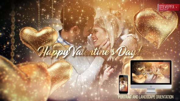 Beautiful Valentines Day Wishes Video Animation with Sparkling Gold Hearts