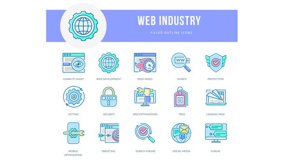 Videohive Web Industry – Filled Outline Animated Icons Free Download