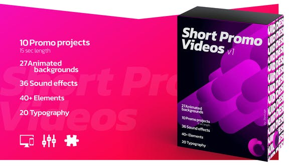 Videohive Short Promo Videos. Set v.1 (Promo projects   Sound FX   Typography & more) Free Download