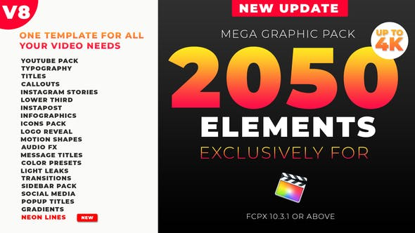 FCPX Mega Graphics Pack - contender for best final cut pro titles plugin