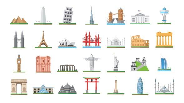 Videohive 100 World Landmarks Icons Free Download