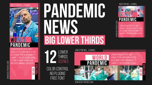 Videohive Pandemic News – Big Lower Thirds Free Download