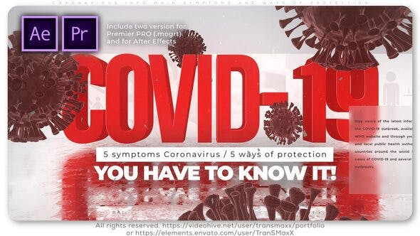 Videohive Coronavirus Info Main Symptoms and Ways of Protection – Premiere Pro Free Download