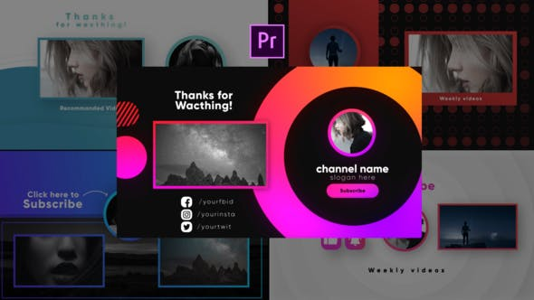 Videohive Youtube Stylish Endcards-MOGRTs _Premiere PRO Free Download