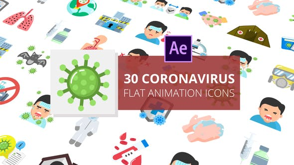 Videohive Coronavirus Flat Animation Icons | After Effects Free Download