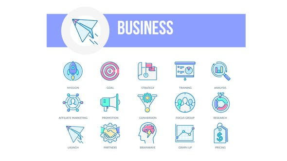 Videohive Business – Filled Outline Animated Icons Free Download