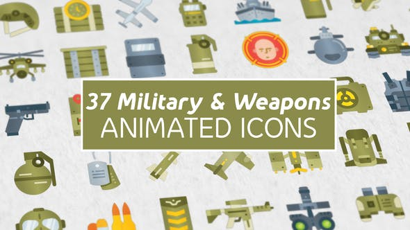 Videohive 37 Military & Weapons Icons 27022105 Free
