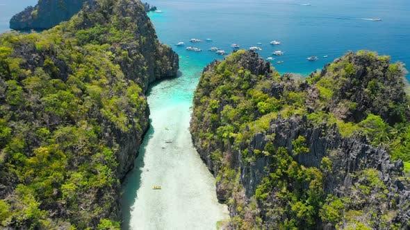 Big Lagoon El Nido Palawan Philippines Drone Aerial Fly