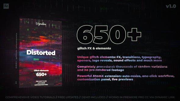 650+ Glitch Elements Free Download