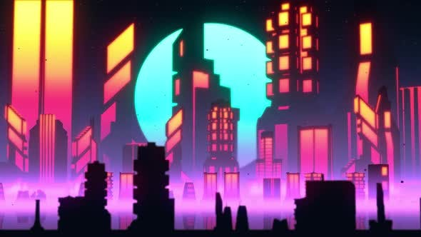 Synthwave City Skyline Lo-fi VJ Loop by motionsquared | VideoHive