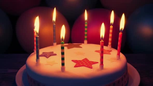 Candles On Cake At Birthday Party Stock Footage