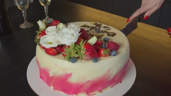 Female Hand With Knife Cutting Tasty Birthday Cake By Alona2018
