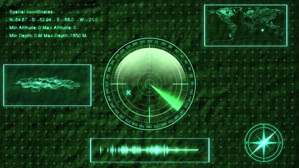 Submarine Sonar With Target On Map by dani3315 | VideoHive