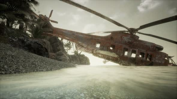 Old Rusted Military Helicopter Near the Island by icetray