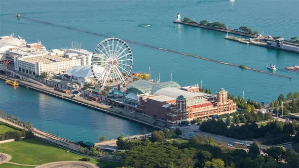 Chicago Navy Pier Ferris Wheel And Boats On Lake Michigan